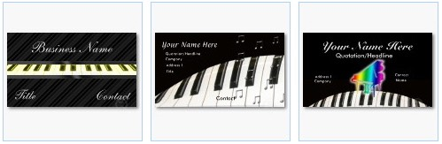 piano keyboard business cards music theme
