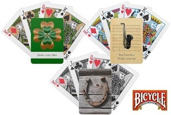 Lucky Clover Irish Playing Cards, Lucky Horseshoe cards and Saxophone Playing Cards that you can customize and personalise at Zazzle