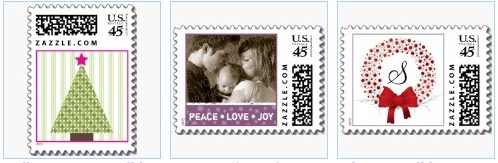 polka dot tree, peace love and joy photo postage stamp for offices and businesses