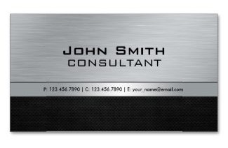 Professional Elegant Modern Black and brushed silver metal Business Card that's ideal for Accountants, Realtors, Attorneys, Real Estate Agents, Lawyers, Brokers and Corporate Professionals.
