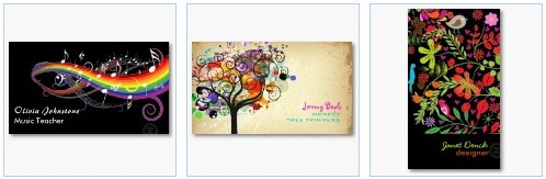 rainbow music notes colorful flowers business cards