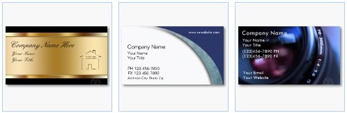 real estate, accountant and photography business cards