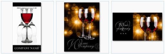 Classy and stylish business cards with red wine in a glass, with reflections of light and a diffused background lighting