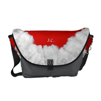 Rickshaw Messenger bag with a Christmas theme - red with white Santa beard on flap