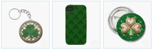 shamrock and celtic knots keychain and button, and shamrock iphone for st patricks day