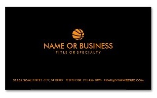 business card with an orange basketball motif on both sides against a background of black. Ideal for basketball coaches, players or fans