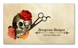 hair stylists vintage grunge business card featuring a skull, rose flowers and scissors shears with a brown and beige tone