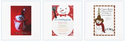 snowman christmas personalized announcements and invitations