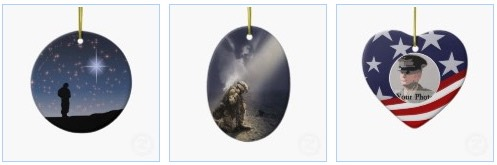soldier with christmas star, stars and stripes patriotic christmas tree ornament