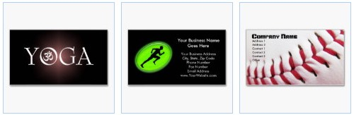 sports business cards with a yoga, running and athletics and a baseball theme and more