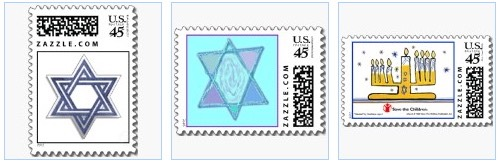 Star of David and Menorah on Happy Hanukkah postage stamps