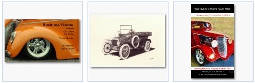 street rod, Model T Ford, vintage auto business cards