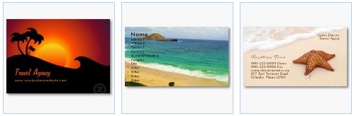 travel and tourism business card beach sea sunset
