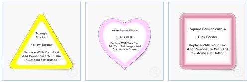 triangular stickers with yellow border and heart shaped stickers with pink border