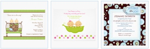 Cute baby twins peeking over the crib twins baby shower invitations, twins in a pea pod and double the joy baby boys twins baby shower invites