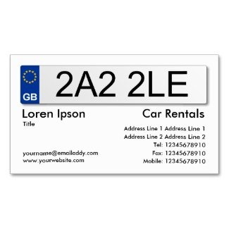 A business card in the style of a British vehicle number plate with custom information for your auto business, car hire and taxi services.