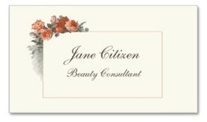 Luxury Ultra-Thick Premium business cards with vintage peach red roses for the health and beauty profession, spa, hair stylists, beauticians, salon, wellness, cosmetics, skin care, boutiques, and makeup artists