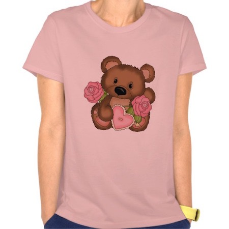 Your own Valentines Day T Shirt with a cute bear, pink roses and a heart