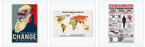 very gradual change, world according to USA and Zombie attack poster