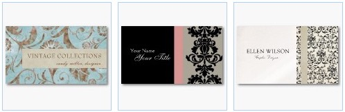 vintage damask business cards black and cream