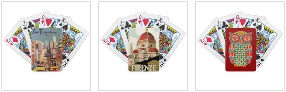vintage san francisco, florence and cute retro owl playing cards