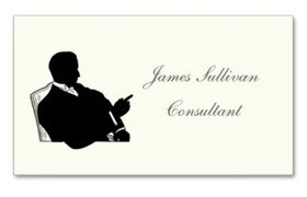 Ultra Thick Premium Business Card featuring a vintage silhouette of a businessman seated at a desk wearing a jacket and collar fashionable in the early 1900s. Ideal for business professionals, executives and the legal profession