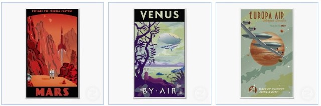 visit mars poster, explore venus by air, fly with europa air to jupiter vintage travel poster