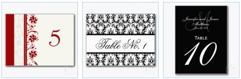 wedding table number postcards with floral, damask,  monogram and monochrome theme