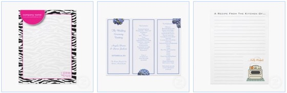 wild zebra letterhead, and a blue hydrangea themed wedding program on letterhead stationery