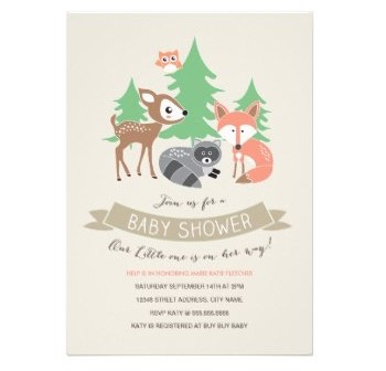 Woodland Friends Baby Shower Invitation Cards. Cute cartoon deer, racoon and fox in a forest setting.