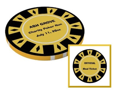 a charity poker run chip designated as a meal token and commemorative souvenir of participation