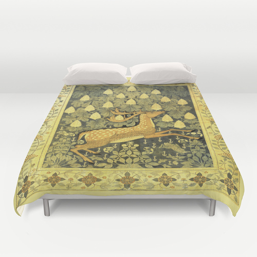 vintage print of a deer in a field with flowers and a leafy chestnut tree and rabbit in grass duvet cover for bedroom
