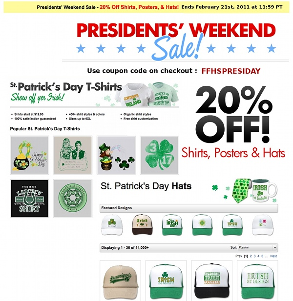 zazzle discount sale St Patricks Day shirts hats posters