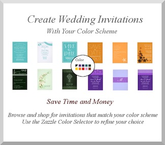 Wedding Planners - Choose Wedding Invitations to suit your planned wedding color themes. Save time and money using the Zazzle Color Selector to choose wedding stationery with hues that match your color scheme